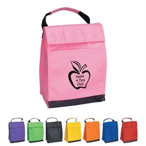 Non-woven Insulated Lunch Bag With Front Pocket With Coordinating Web Handle