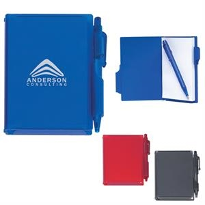 Memo Notebook With Pen, Hard Plastic Case With Matching Pen