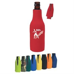 Bottle Buddy - Silkscreen - Long Necked Bottle Insulator With Zippered Closure With O-ring Pull