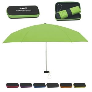 "Folding Travel Umbrella With Eva Case And Metal Shaft, 37"" Arc"