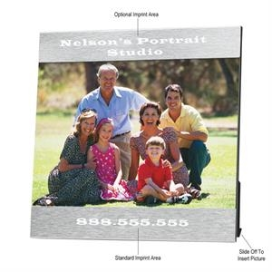 "Aluminum Photo Frame, 7 1/4"" X 7 1/4"", Holds 5"" X 7"" Photo"