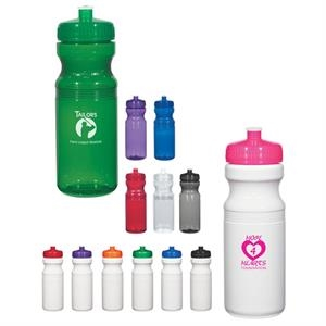 Hitgreen (tm) Poly-clear (tm) - Royal Blue - Fitness Bottle With Leak Resistant Push Pull Lid, 24 Oz