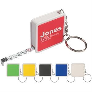 "Square Tape Measure Key Tag, 39"" Metal Tap With Metric/inch Scale"