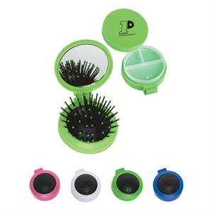 3 In 1 - Three In One Kit With Mirror, Hair Brush, Twist Off Lid Reveals Pill Case