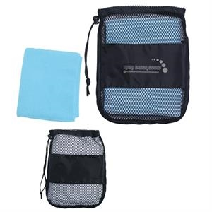 Sport Towel In A Mesh/nylon Carrying Bag With Drawstring