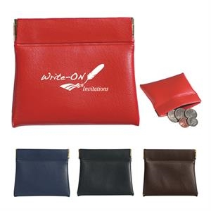 Coin Pouch With Hinged Sides For Firm Closure