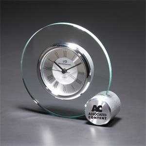 Concentric - Round Glass Desk Clock With Right Corner Cube