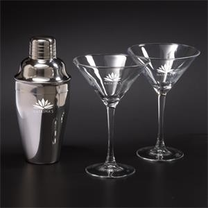 Martini Shaker Set w/ 2 Glasses