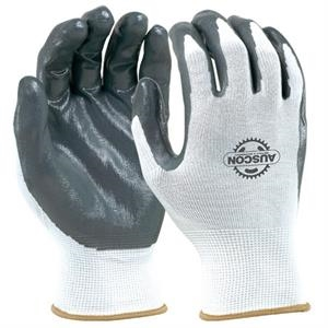 White Seamless Knit Glove With Nitrile
