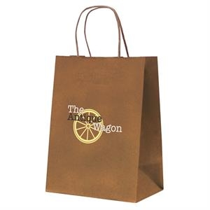 Tinted Kraft Paper Shopping Bag With 1-color, 1-sided Hot Stamp