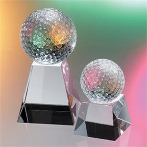 Golf Ball On Small Base Crystal Award By Crystal World