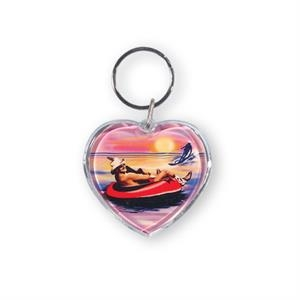 Heart Shape Optical Grade Acrylic Key Tag With 24mm Split Ring