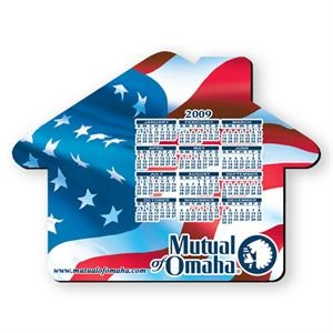 "House Shaped Hard Top Calendar Mouse Pad, 1/8"" Base, Approximately 8"" X 8"""