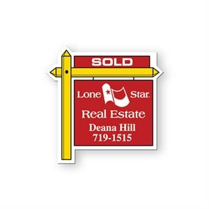 Flexible Stock Shape Vinyl Magnet With Real Estate Sign Design