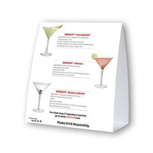 "Table Top Ad Tent Display On 12 Point Coated Card Stock, 4"" X 4"""