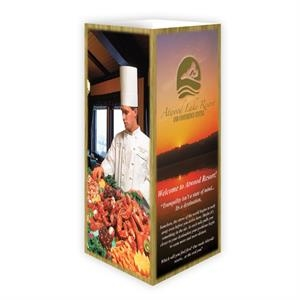 "Table Top Ad Tent Display, Four Panel, On 12 Point Coated Card Stock, 8 1/2"" X 4"""
