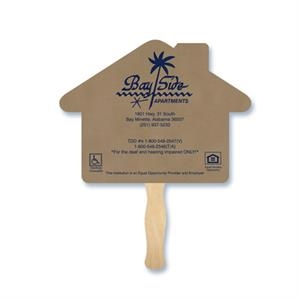 House Shape Hand Fan, 26 Point Recycled Unbleached Natural Brown Kraft Chipboard