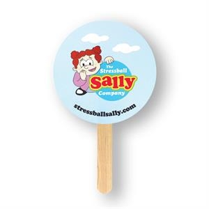 Round Mini Hand Fan With Basswood Handle Attached With Adhesive To The Back Of Fan