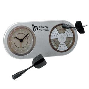Executive Dart Board, Brushed Aluminum Finish Desk Alarm Clock