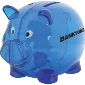 Translucent Blue - Plastic 2 Slot Piggy Bank