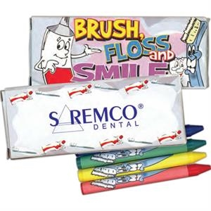 Four Pack Of Crayons With Dental Theme