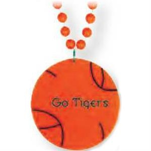 "Basketball Medallion - Sport Medallion Necklaces, Medallion Is 2 1/2"" On 33"" Long Necklace"