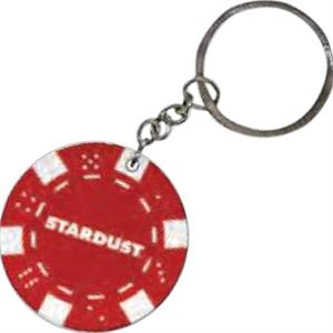 "Red - Poker Chip, 1 1/2"" Key Chain"