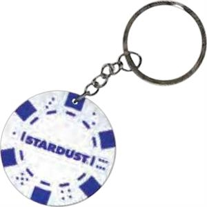 "White - Poker Chip, 1 1/2"" Key Chain"