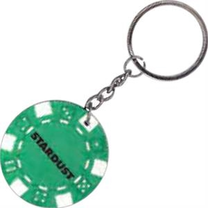 "Green - Poker Chip, 1 1/2"" Key Chain"