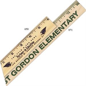 "6"" - Natural Wooden Ruler With Inch Or Metric Scale"