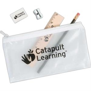 Translucent School Pouch With 1 Pencil, 1 Ruler, 1 Eraser, And 1 Sharpener