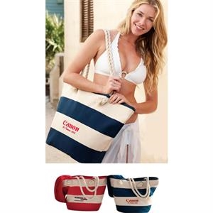 Vintage Cabana Canvas Tote (tm) - Embroidered - Roomy Tote Features Comfortable Rope Handles, And Full Length Top Zipper