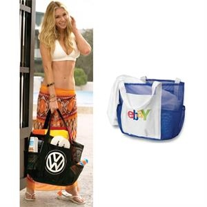 Whale Beach Bag (tm) - Silkscreen - Mesh Bag With Seven Outer Pockets And Inside Snap Hook