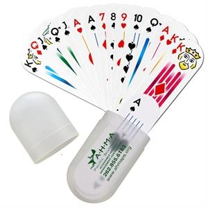 Small Oval Deck Of Cards In Plastic Holder