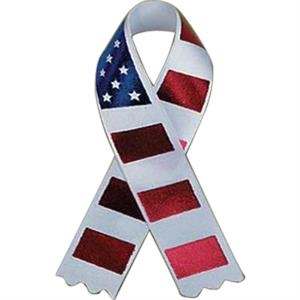 Pin Attached - Awareness Ribbon With Stars And Stripes Design