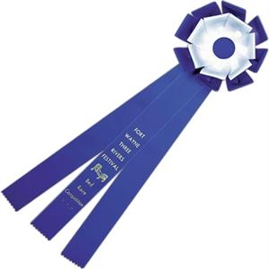 Custom Double Loop Rosette Ribbon With Button And Three Streamers