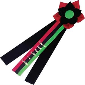 Custom Ribbon With Double Petal Rosette, 3 Streamers, And Button