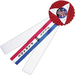 Red, White And Blue Custom Rosette Ribbon With Button And Streamers