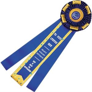 "Custom Rosette Ribbon With Button, 6 1/2"" X 20 1/2"""