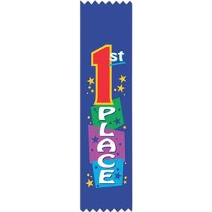 "Leadership Award;with Rosette - Full Color Stock Ribbons, 2"" X 8"""