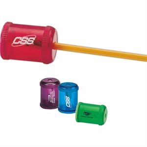 Round Pencil Sharpener. Colors Are Blue, Purple, Green, Red, Or Assorted. Imprinted