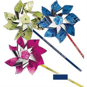 "Metallic 7"" Pinwheel Printed With Exotic ""hibiscus"" Design. 11"" Stick. Imprinted"