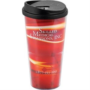 24 Oz Clear Tumbler With Paper Insert And Lid