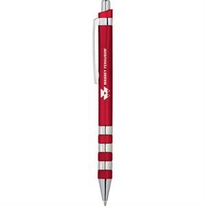 Scripto (r) Bloomfield - Abs Ballpoint Pen With Metallic Barrel, Chrome Ringed Bottom Details