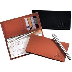 Walker Street Leeman New York Collection - Full Grain Leather Checkbook Holder With Pockets For Five Credit Or Bank Cards
