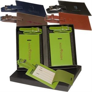 Marquis Leeman New York Collection - Two Rectangle Luggage Tag Set Made Of Cowhide Leather