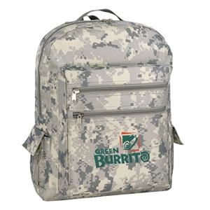 "600 Denier Polyester Camo Backpack With Heavy Vinyl Backing, 12"" X 16"" X 5"""
