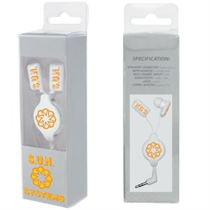 Retractable Earbuds In Clear Presentation Box And 4cp Sleeve With Imprint On Front
