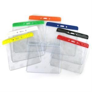 Clear Horizontal Top-Load Color Bar Badge Holder