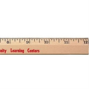 "12"" Clear Lacquer Beveled Wood Ruler"